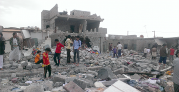 Rubble after 2015 airstrike in Yemeni city of Sanaa.