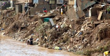 Flooded slums in Manila, Philippines
