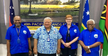 Australia Foreign Minister Marise Payne at the 49th Pacific Islands Forum (credit: twitter @MarisePayne)
