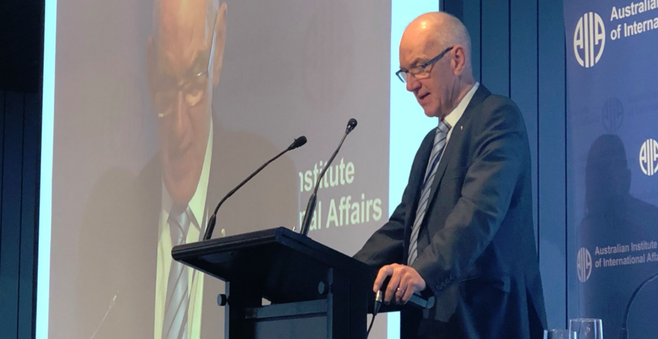 Allan Gyngell AO FAIIA at 2018 AIIA National Conference (Credit: twitter @ameliashaw91)