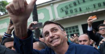 Jair Bolsonaro during first round of Brazil's presidential election, October 7, 2018 (Credit: AFP Fernando Souza)