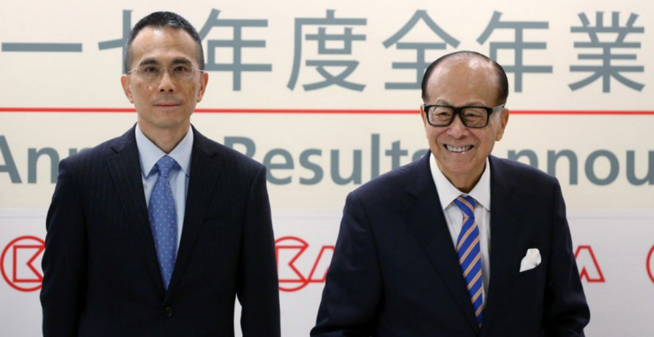 Chairman of CK Hutchinson Holdings, Victor Li, left, and his father, right (Credit: twitter @geoff_p_wade).