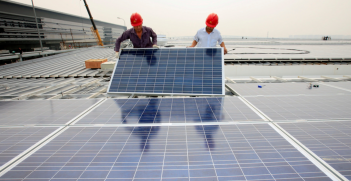 Solar panel installation in Shanghai. Source; Flickr.