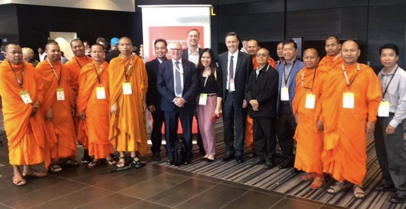 Cambodian Community in Adelaide with Chris Hayes MP, Julian Hill MP and Mark Butler MP, attending the ALP's National Conference in support of resolution passed to sanction Cambodia's regime. Credit: Dara Khiev