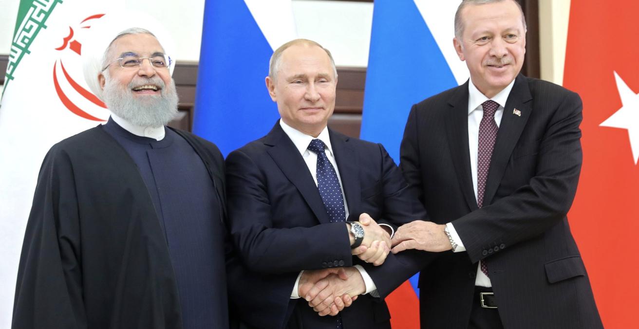 Presidents Hassan Rouhani, Vladimir Putin and Recep Tayyip Erdogan meet in Sochi in February to discuss the Syrian peace process. Source: Kremlin.ru