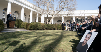 President Trumps delivers remarks in the Rose Garden on the national emergency on the US-Mexico border, 15 February 2019. Source: The White House, Flickr