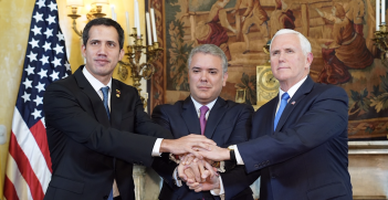 Venezuelan Interim President Juan Guaido met with Colombian President Iván Duque Márquez and US Vice President Mike Pence in Colombia on 25 February 2019. Source: The White House, Flickr