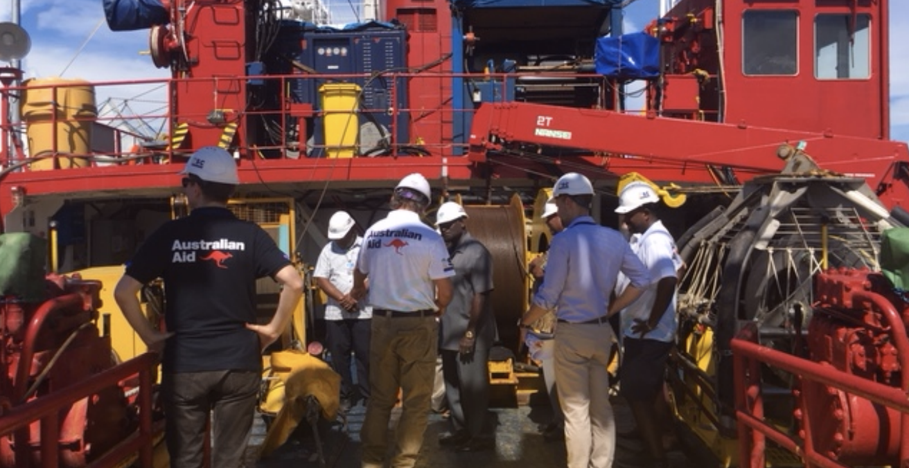 Officials from the Solomon Islands government and the Australian High Commission in Honiara tour the RV Northern Endeavour after it completed the survey for laying the Coral Sea Cable System to link Australia, Papua New Guinea and the Solomon Islands. Source: Coral Sea Cable System