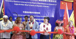 Vanuatu Prime Minister Charlot Salwai cuts the ribbon at the handover ceremony for the controversial Chinese-built Luganville Wharf in August 2017. Source: gov.vu