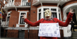A protester outside the Ecuadorian Embassy in London where Julian Assange sought refuge for nearly seven years. Source: Cancilleria del Ecuador, Flickr, https://bit.ly/1dsePQq