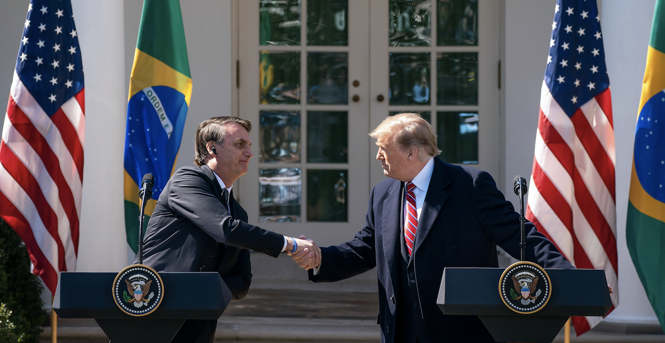 President Trump and President Bolsonaro at a joint press conference at the White House on 19 March 2019. Photo: Tia Dufour/White House, Flickr
