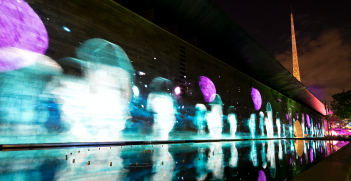 Melbourne's National Gallery of Victoria lit up for the cultural event White Night. Photo: Steve Collis, Flickr, https://bit.ly/1mhaR6e.
