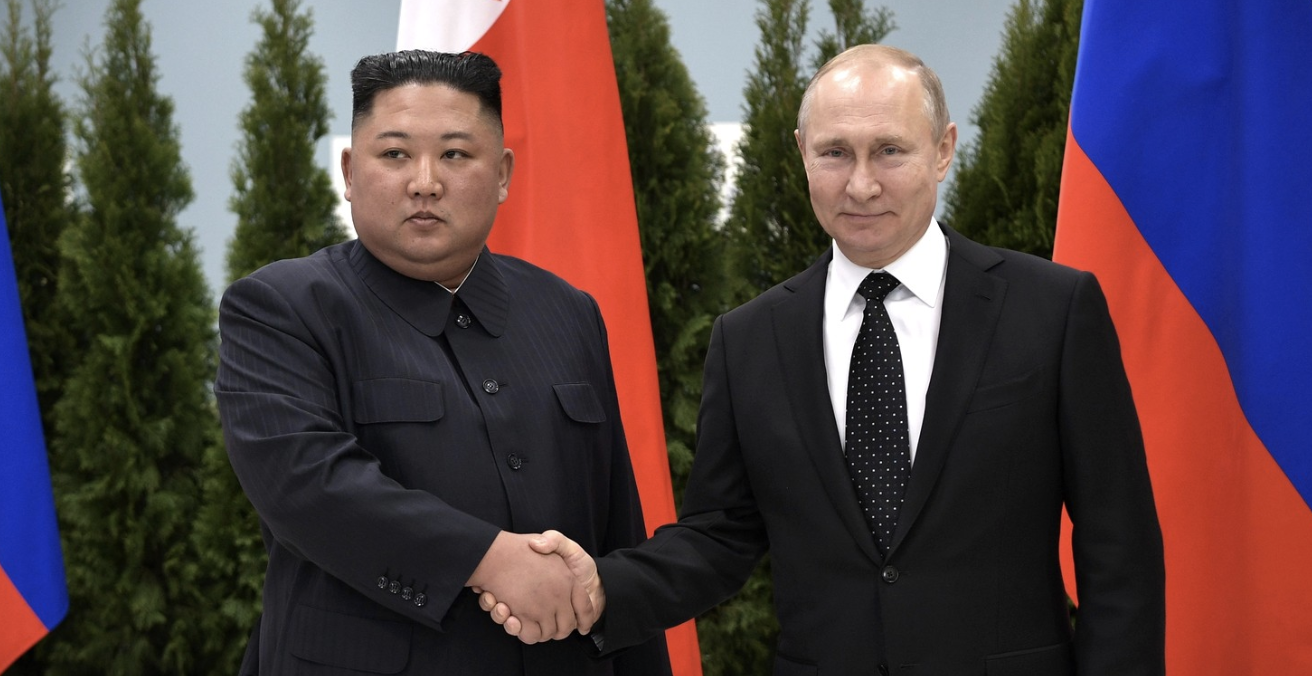 Russian President Vladimir Putin and North Korean leader Kim Jong Un met in Vladivostok in Russia's far east on 25 April. Photo: Kremlin.ru