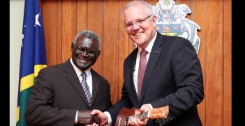 Scott Morrison and Manasseh Sogavare, June 2019. Source: Australian Prime Minister's Office handout