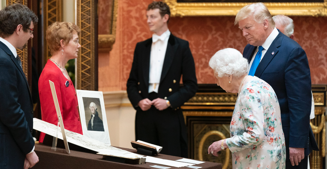 President Donald J. Trump joined by Queen Elizabeth tours the Royal Collection of American items in the Picture Gallery at Buckingham Palace Monday, June 3, 2019 in London. Source: Flickr, Official White House Photo by Shealah Craighead http://bit.ly/2K2hlaW