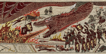 Battle of the Goldroad from Game of Thrones - Season 7 Episode 4 on the official tapestry produced in Northern Ireland. Source: Wikimedia Commons: Kal242382. License: https://creativecommons.org/licenses/by-sa/4.0/deed.en