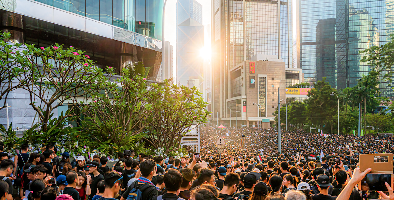 Enormous crowds make up the Hong Kong Protests. Source: Wikimedia Commons http://bit.ly/2Np9VBk