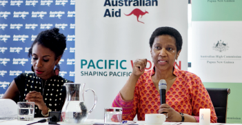 Diane Kambanei, Executive Director, YWCA, Papua New Guinea and Phumzile Mlambo-Ngcuka, Executive Director of UN Women at the Australian High Commission eek the ending of violence against women and girls. Source: Flickr, UN Women http://bit.ly/2HVunos
