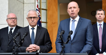 Malcolm Turnbull and Peter Dutton at announcement in 2017 of the new Home Affairs portfolio. Source: The Conversation  https://counter.theconversation.com/content/121047/count.gif?distributor=republish-lightbox-advanced