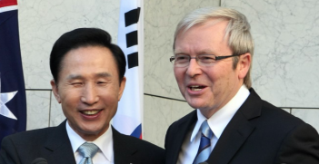 President Lee Myung-bak and Australian Prime Kevin Rudd in 2009 at Parliament House on in Canberra, Australia. Source: Flickr, Republic of Korea http://bit.ly/2KwUuCs