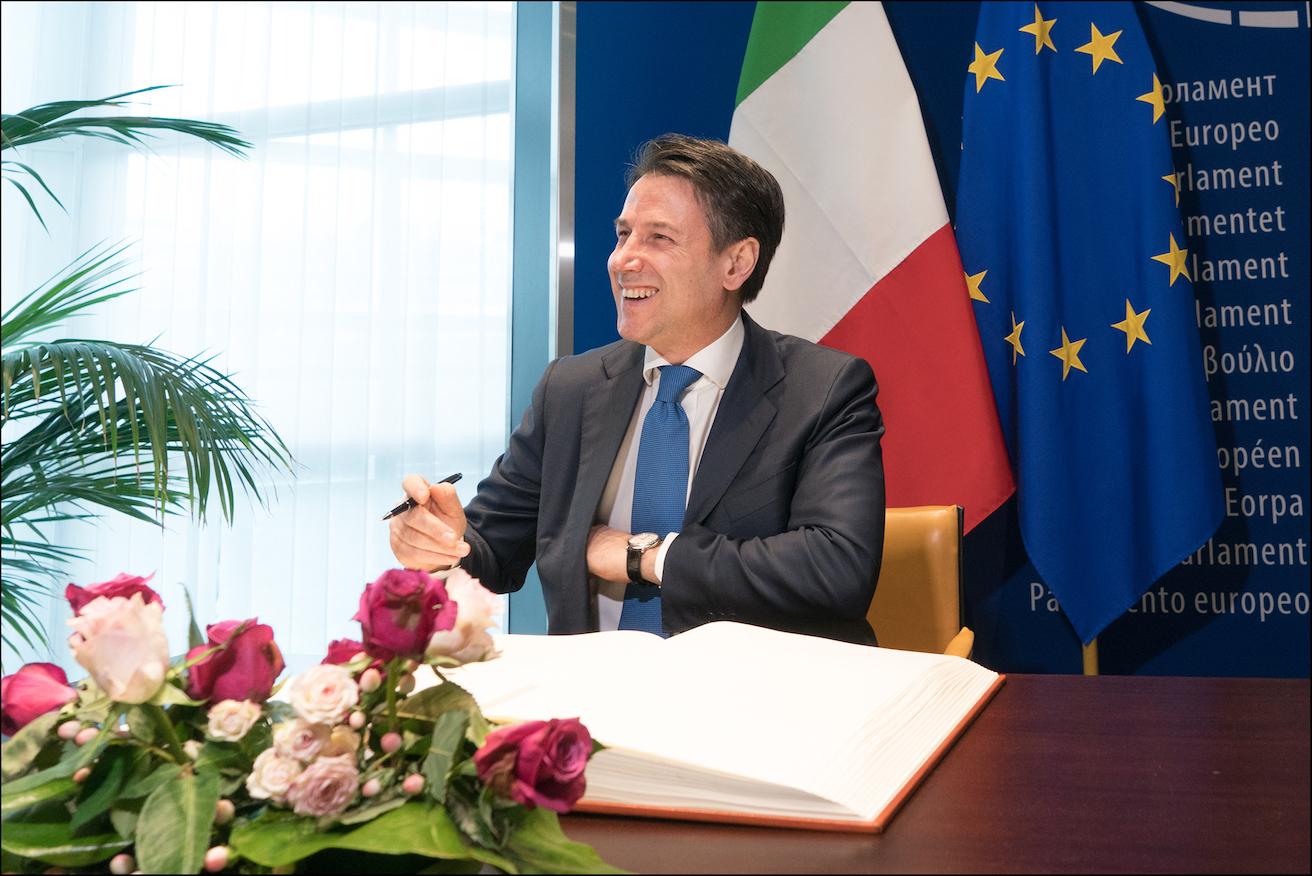 Prime Minister Giuseppe Conte at the European Parliament, Source: European Parliament, Flickr, https://bit.ly/30NKBHq