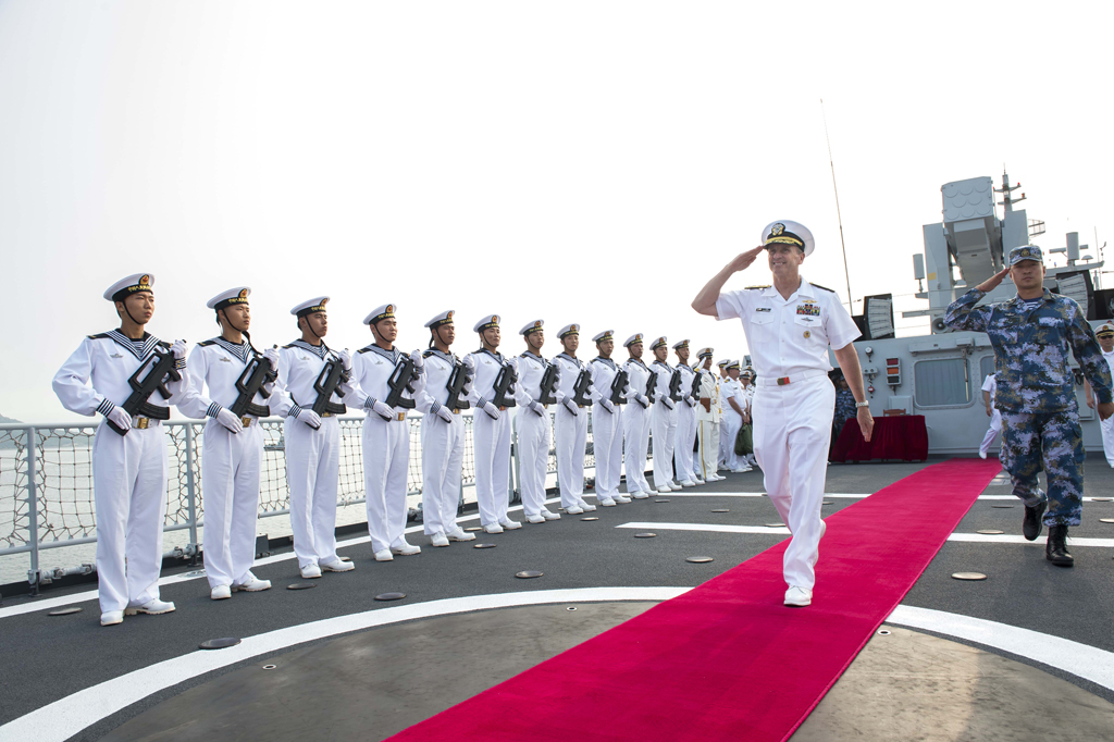 DALIAN, China (July 17, 2014) Chief of Naval Operations (CNO) Adm. Jonathan Greenert departs the People's Liberation Army Navy (PLAN) ship. U.S. Navy photo by Chief Mass Communication Specialist Peter D. Lawlor/Released)