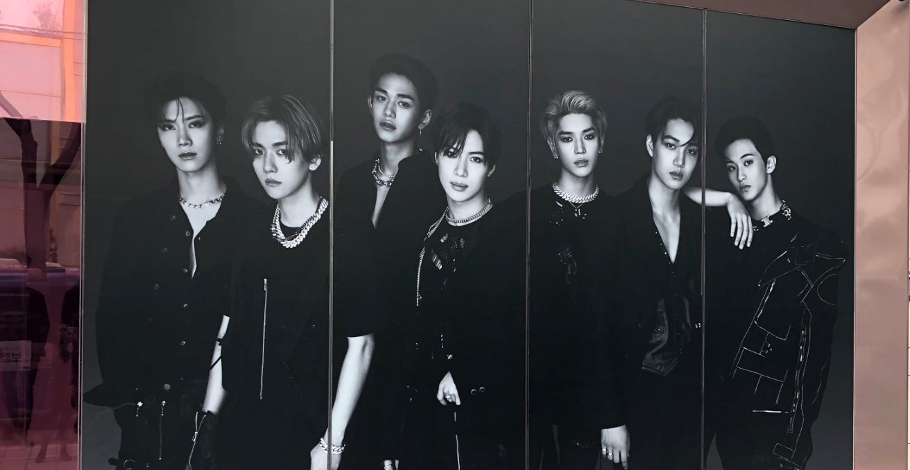 A life-size photo of K-pop group SuperM adorns the building of SM Entertainment on K-Star Road in the Gangnam district of Seoul. Photo: Zainah Mertakusuma.