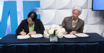 Dr Junhong Chang, Director, ASEAN+3 Macroeconomic Research Office and Christine Lagarde, Managing Director, IMF, sign a MOU to enhance cooperation and deepen the IMF's work in the ASEAN+3 on Wednesday, October 11, during the 2017 IMF/World Bank Annual Meetings in Washington, D.C. Source: Ryan Rayburn/IMF Photo https://bit.ly/3drOet5