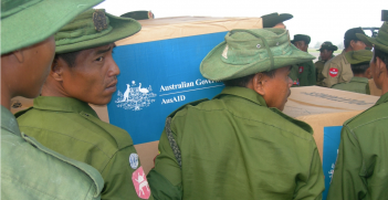 Australian aid being unloaded in Myanmar in response to Cyclone Nargis, 2008. Source: AusAID https://bit.ly/3aQPXX1