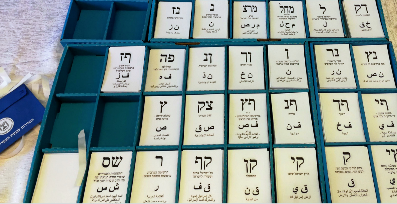 Tray of slips, one for each party. The slips are printed with the 'ballot letters' of the party, the full official name of the party, and sometimes a slogan in small print. The voter chooses the relevant slip for their party, puts it in the envelope, seals it, and then places the envelope into the ballot box. Source: Laliv g https://bit.ly/2UjS14m