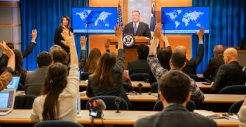 Secretary Michael R. Pompeo At a Press Availability After the Afghanistan Signing Ceremony. Source: Freddie Everett https://bit.ly/3ann7gs