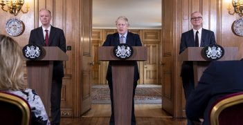 Britain's Prime Minister Boris Johnson (middle) during a press conference on the Coronavirus with Chief Medical Officer for England Chris Whitty (left), and Chief Scientific Adviser Patrick Vallance (right) inside No10 Downing Street. Source: Stephen Harvey/No10 Downing Street https://bit.ly/2X0l1jb