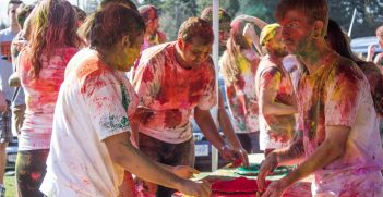 Domestic and international students celebrate the Indian festival of Holi on their university campus. Source: UFV https://bit.ly/2xhqS9v