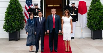 President Donald J. Trump and First Lady Melania Trump pose for a photo with the Prime Minister of Japan Shinzo Abe and his wife Mrs. Akie Abe Friday, April 26, 2019, at the South Portico of the White House. Source: White House/Andrea Hanks https://bit.ly/2Kn3ieb