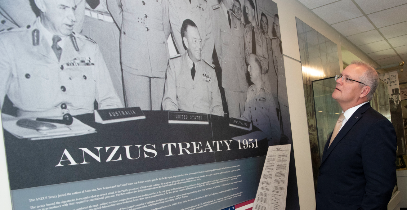 Australian Prime Minister Scott Morrison visits the ANZUS Corridor that commemorates the 1951 Australia, New Zealand, United States Security Treaty, at the Pentagon, Washington, D.C., Sept. 20, 2019. Source: DoD/Lisa Ferdinando https://bit.ly/3dnZkOX