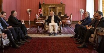 Afghan President Ashraf Ghani meets with rival Abdullah Abdullah, US Secretary of State Mike Pompeo, the former Afghan president, Hamid Karzai, and US Special Representative for Afghanistan Reconciliation Zalmay Khalizad. Source: Ron Przysucha https://bit.ly/2XcZGTx