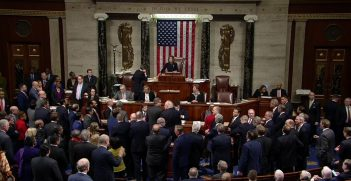 On December 18, 2019, United States House of Representatives votes to adopt the articles of impeachment, accusing Donald Trump of abuse of power and obstruction of Congress. Source: House Floorcast https://bit.ly/2zflcxy