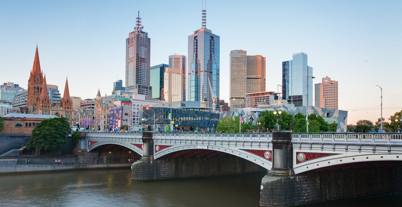 The Melbourne skyline and Princes Bridge as viewed from Southbank. Source: David Iliff https://bit.ly/2yGLQ2l