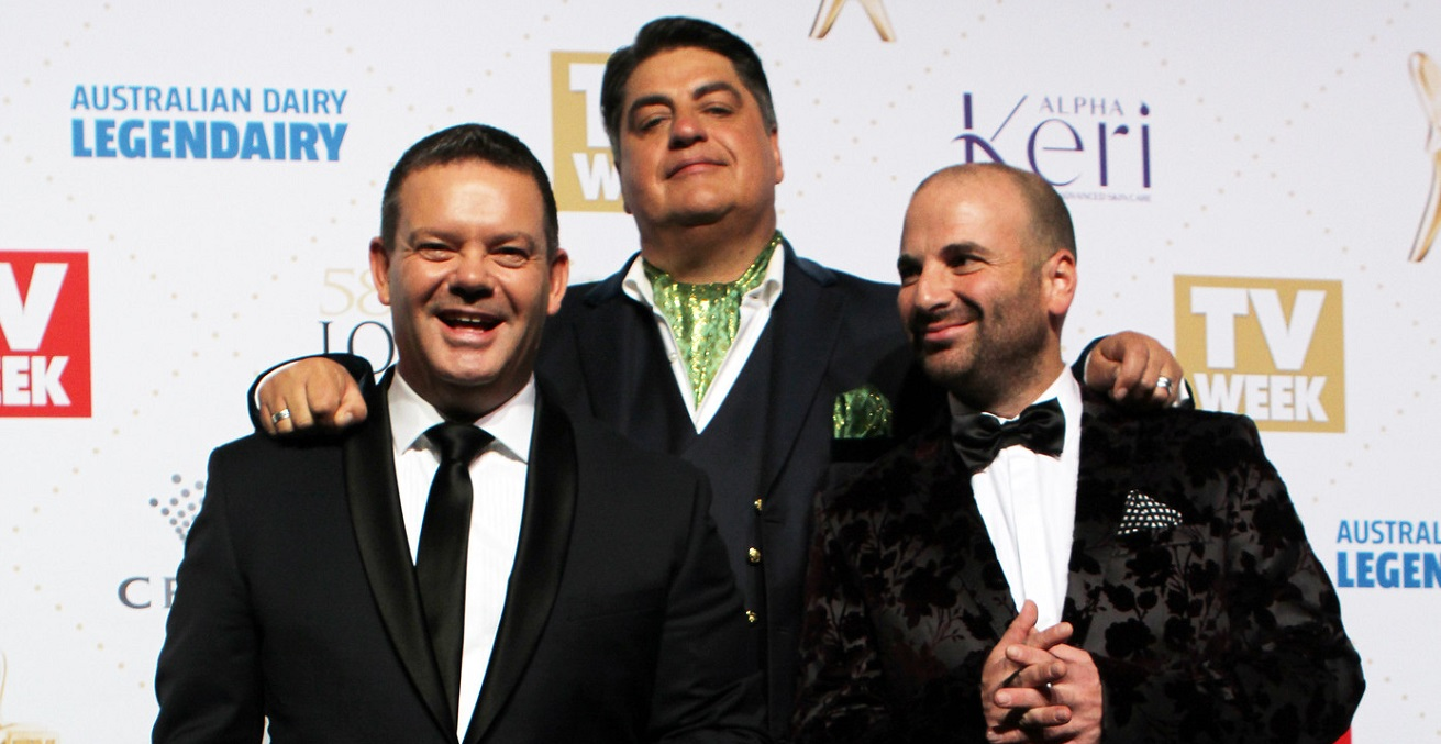 Former Masterchef judges George Calombaris, Matt Preston and Gary Mehigan at the 2016 TV Week Logie Awards. Source: Eva Rinaldi https://bit.ly/319ft83