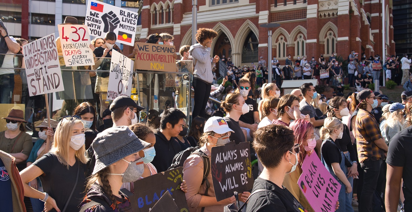 Anti-Racism Protest in Brisbane, Queensland, Australia. 6 June 2020. This protest was in support of Black Lives Matter and associated protests in the United States following the killing of George Floyd - but also highlighted parallel issues within Australia such as the deaths of Australia's aboriginal people while in police custody. Source: Andrew Mercer https://bit.ly/2Y2lAcl