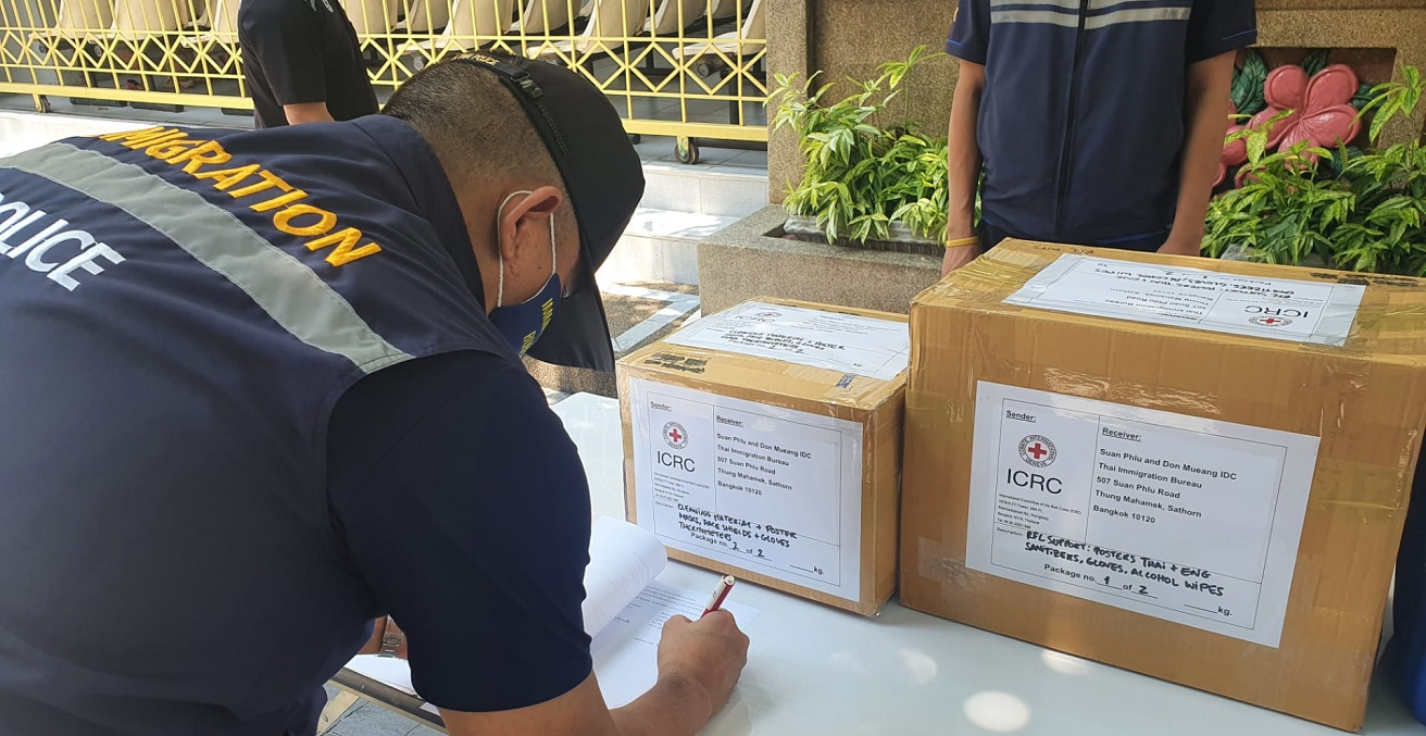 ICRC support delivered to immigration detention centers in Thailand.  Photo supplied by the ICRC.