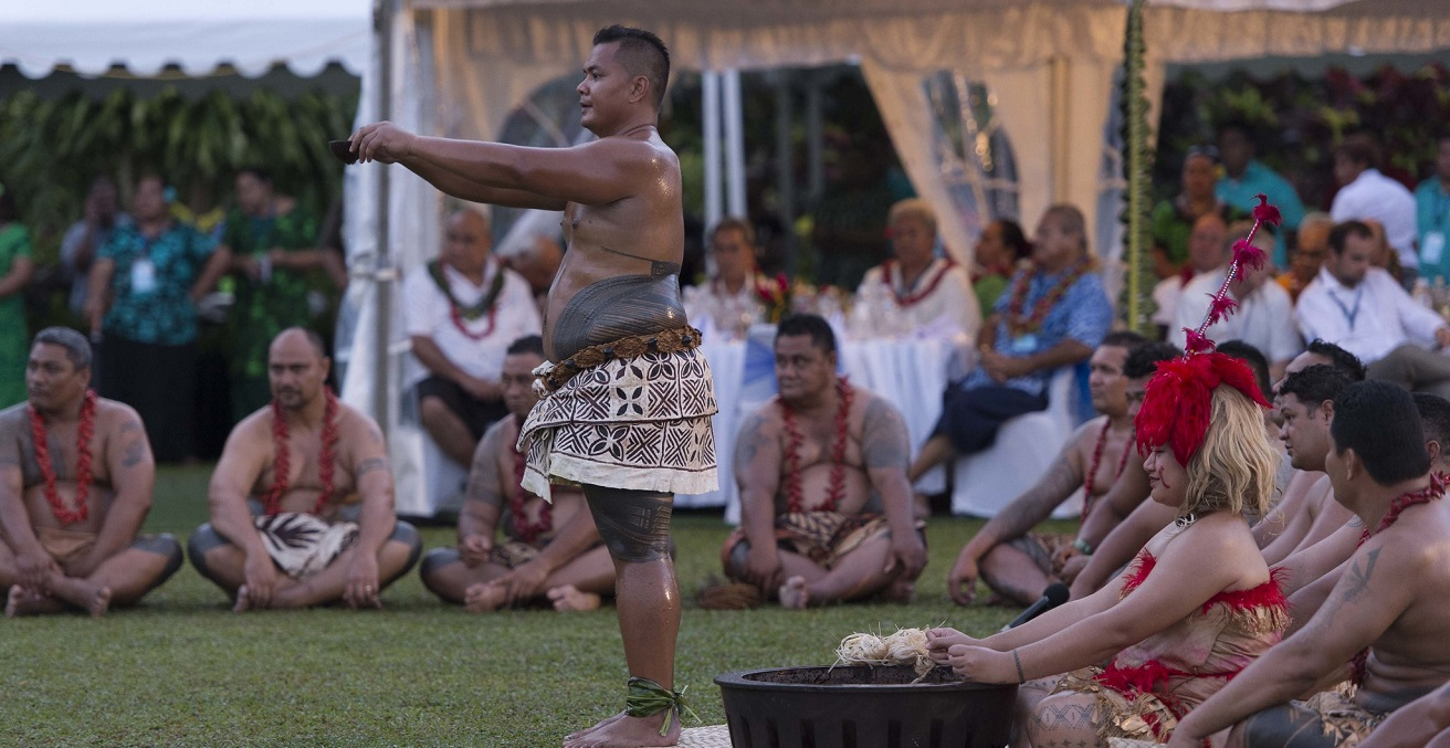 Pacific Island Forum leaders are honored with a traditional Samoan 'Ava ceremony. Source: Ola Thorsen https://bit.ly/3j7bW0T