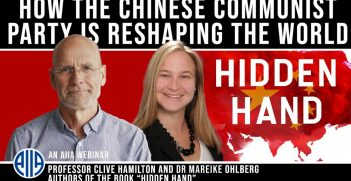 Clive Hamilton and Mareike Ohlberg in a webinar with Bryce Wakefield at the AIIA. Source: AIIA