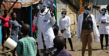 Healthcare workers sensitising the community on COVID-19 in Kenya Photo: Victoria Nthenge, https://bit.ly/3iqke2s
