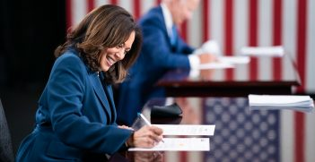 Kamala Harris and Joe Biden sign the official paperwork to be listed as the Demoratic  presidential and vice presidential candidates on the November ballot. Source: Adam Schultz https://bit.ly/3jcE41R