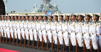 Members of the Chinese Navy line up at the opening ceremony of a joint exercise with the Russian Navy off the coast of Shanghai. Source: Kremlin https://bit.ly/3hfJloC