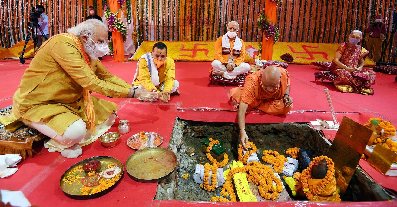 India's Prime Minister Narendra Modi performing Bhoomi Pujan at Shree Ram Janmabhoomi Mandir at Ayodhya Source: Government of India https://bit.ly/2QbeQUM