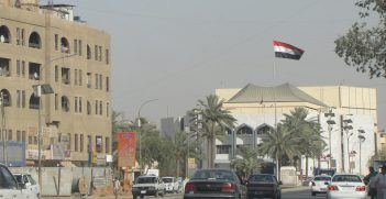 The Iraq flag flies over the Baghdad National Theatre. Source: zin_live https://bit.ly/3a9ossF