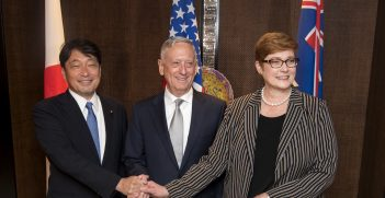 A meeting between James N. Mattis of the United States, Marise Payne of Australia, and Itsunori Onodera of Japan at the Shangri-La Dialogue in Shangri-La, Singapore, June 2, 2018. The ministers met to build upon their partnership and to discuss defence strategies. Source: DoD Photo by Tech Sgt. Vernon Young Jr. https://bit.ly/3n7KVfI
