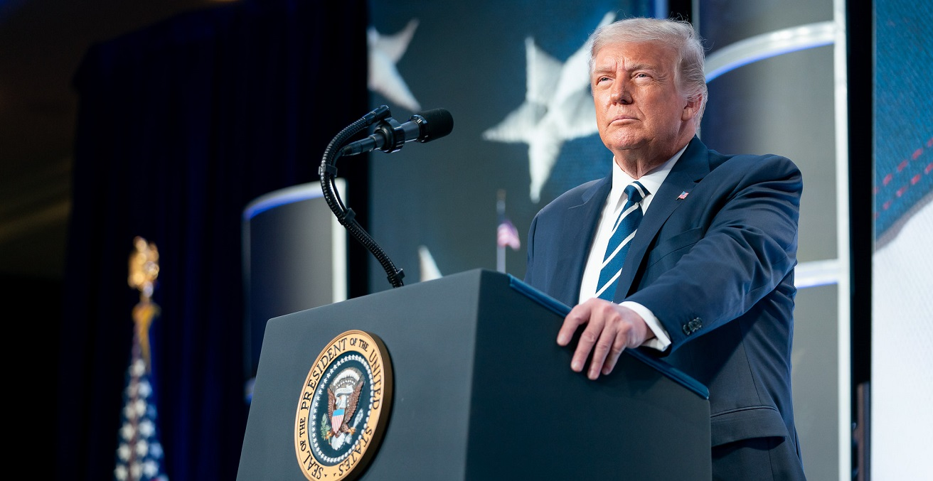 President Donald J. Trump delivers remarks at the 2020 Council for National Policy Meeting Friday, Aug. 21, 2020, at the Ritz-Carlton in Pentagon City, Va. Source: Official White House Photo/Tia Dufour https://bit.ly/2R3E7AL